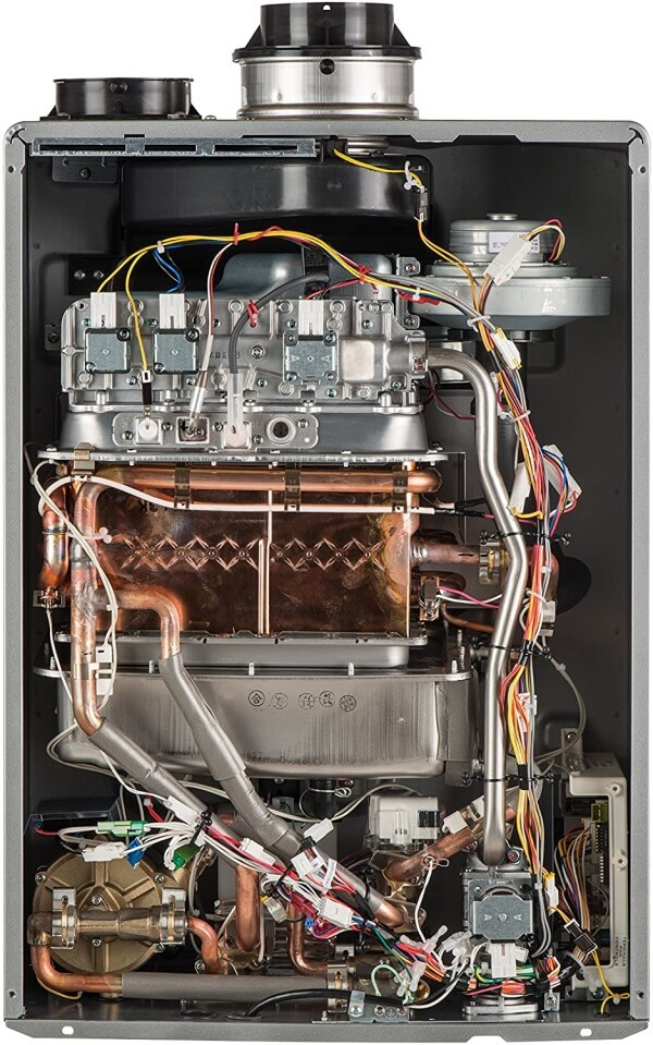 Condensing water heater inside