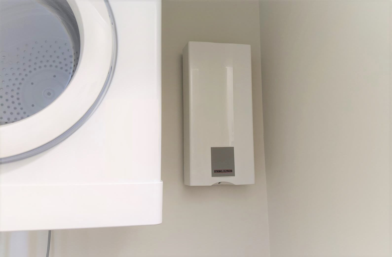 Electric tankless water heaters mounted on wall