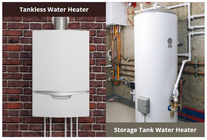 Tankless vs storage water heater side by side