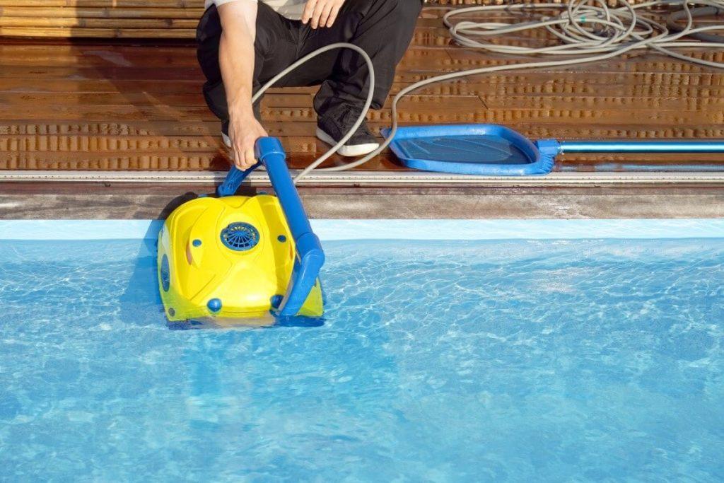 Man using pool filter